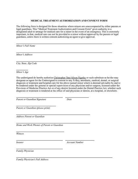 affidavit of parental consent form template authorization form tomsplans parental consent