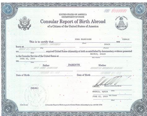 Template For A Consular Report Of Birth Abroad 12 Best Images Of Certificate Of Birth Abroad On
