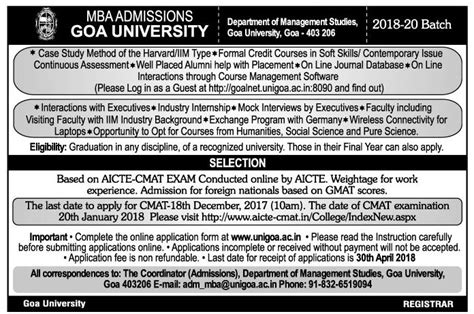 What Is Mba Goa by Mba Admissions Goa Ad Advert Gallery