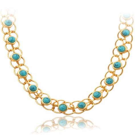 18k gold plated s turquoise semi precious