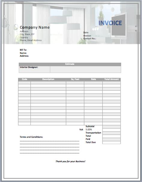 interior design invoice template word templates