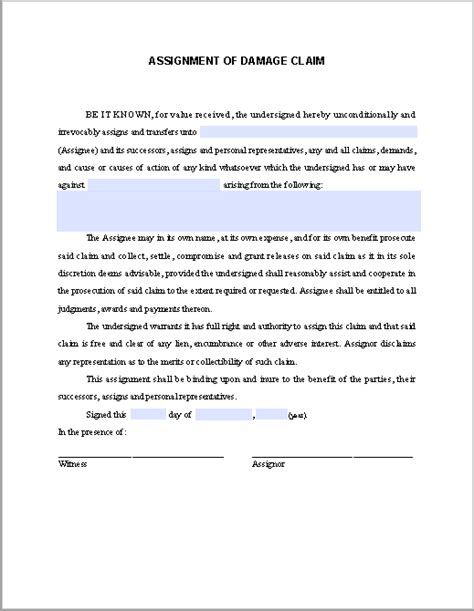 Acceptance Letter For Claim Assignment Of Damage Claim Free Fillable Pdf Forms