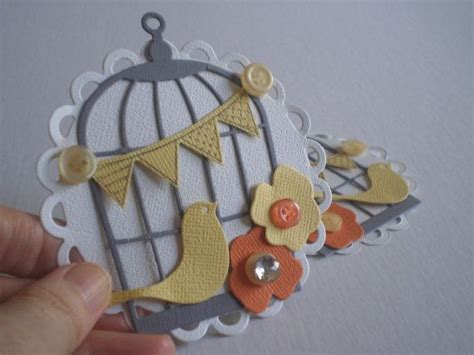 Handmade Embellishments For Scrapbooking - handmade scrapbooking embellishments set of 2 bird cages