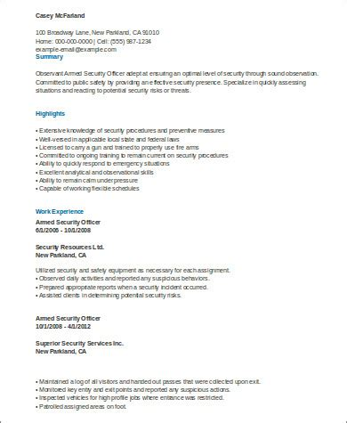 resume exles armed security officer 8 sle security officer resumes sle templates