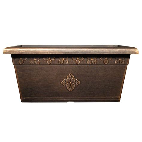 plastic planter boxes 20 in x 10 in medley warm copper plastic window box wb690h wc the home depot