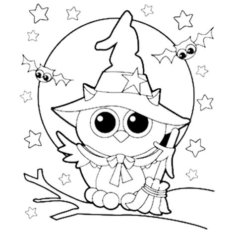 halloween owl witch coloring page kids coloring pages