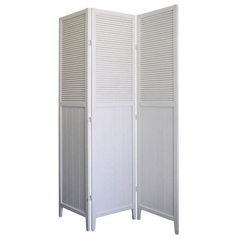 White Room Divider Home Decorators Collection 5 83 Ft White 3 Panel Room Divider R5420 The Home Depot
