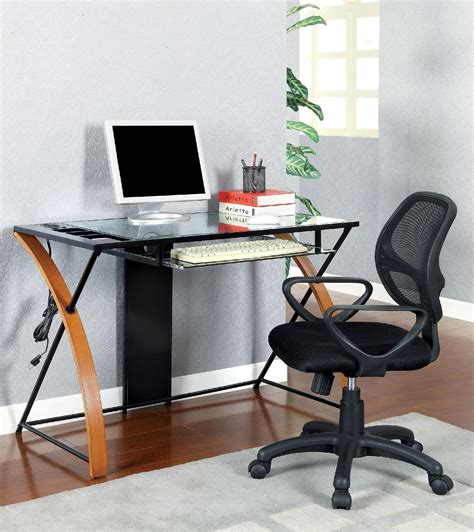 furniture of america gellan oak and black accent desk with