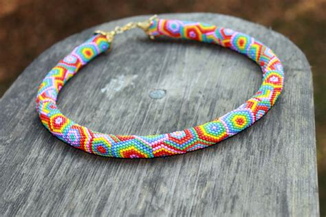 rainbow beaded rope necklace rope necklace bead crochet
