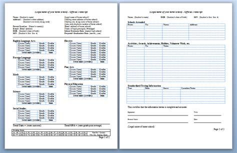 College Transcript Template Homeschool High School Transcripts 171 Letshomeschoolhighschool Com