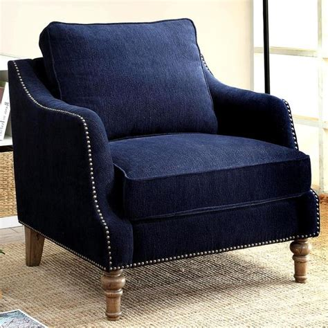 ink blue chenille fabric upholstered living room
