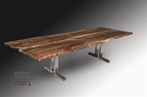 stainless steel table l stainless steel l live edge dining table jeffrey