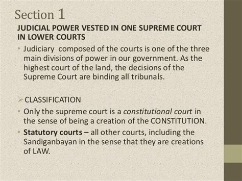 article 1 section 8 summary article viii judicial department sections 1 to 8