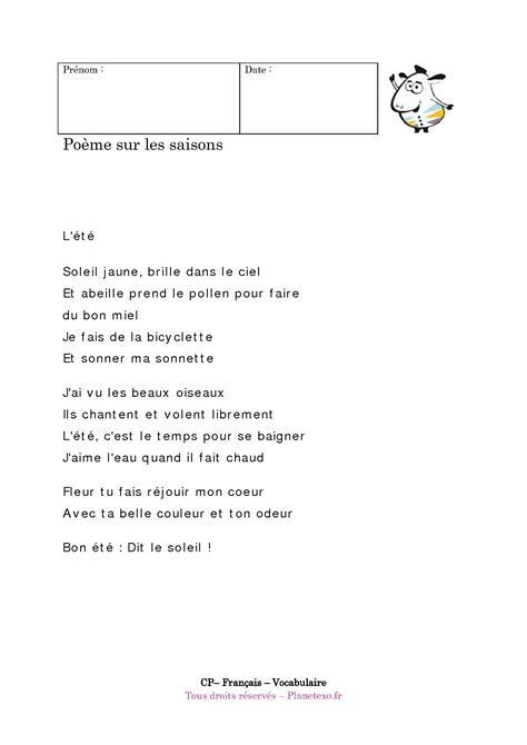 poesie ete cp