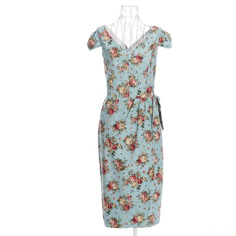 free shipping s vintage style free shipping floral print vintage design dresses knee