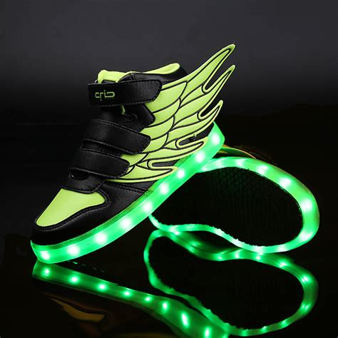 Wings Low Led 1 2018 led lights wings shoes fashion boys shoes usb charger light children shoes