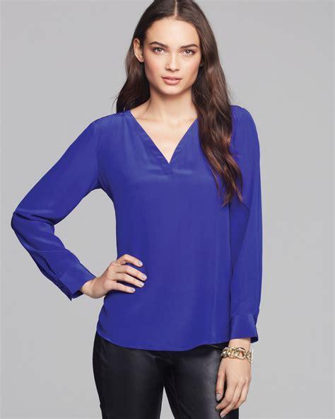 lyst eileen fisher silk blouse in blue