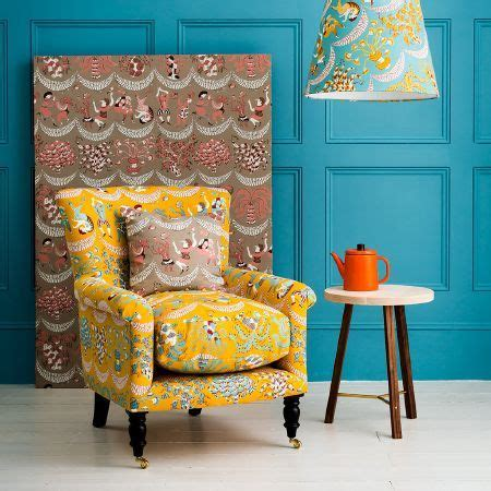 Yellow Patterned Armchair by St Judes Ellie Curtis Fabric Collection Bright Yellow