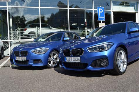 Bmw 1er Coupe Facelift Unterschiede by Bmw 1er Vergleich F20 Und F20 Lci Mit M Paket In Estorilblau