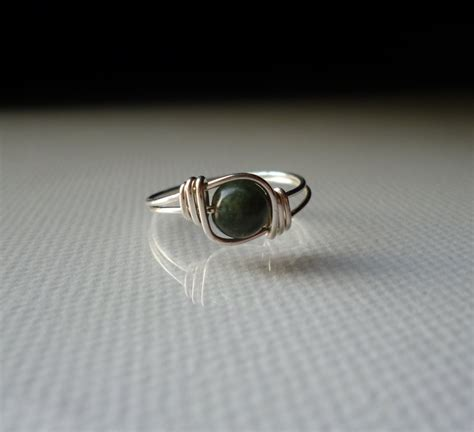 Handmade Wire Wrapped Rings - green jade gemstone ring silver wire wrapped ring handmade
