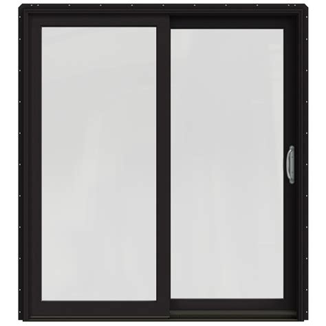 Black Patio Doors Shop Jeld Wen W 2500 71 25 In X 79 5 In Right Black Sliding Patio Door With Screen At Lowes