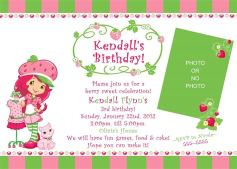 Strawberry Shortcake Invitation Template by 40th Birthday Ideas Strawberry Shortcake Birthday