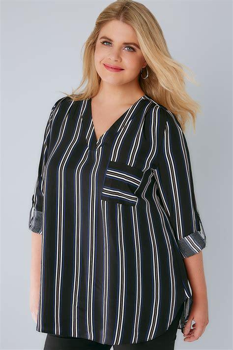 Blouse Stripe V Hijau black stripe v neck blouse with roll up sleeves pocket detail plus size 16 to 32