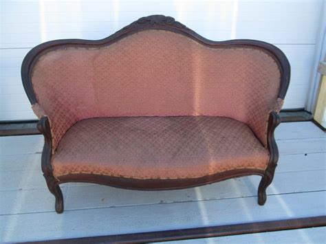 antique wooden settee antique victorian style settee with carved wood trim