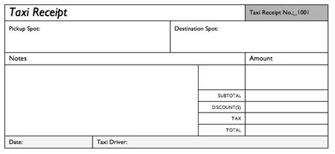 taxi receipt template printable templates