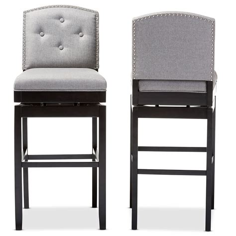 Tufted Button Back Bar Stools by Baxton Studio Ginaro Modern And Grey Fabric Button Tufted Upholstered Swivel Bar