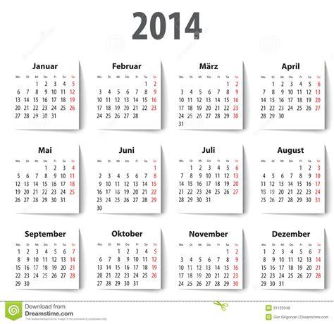 Calendario Aleman Calendario Alem 225 N Para 2014 Con Las Sombras Lunes Primero