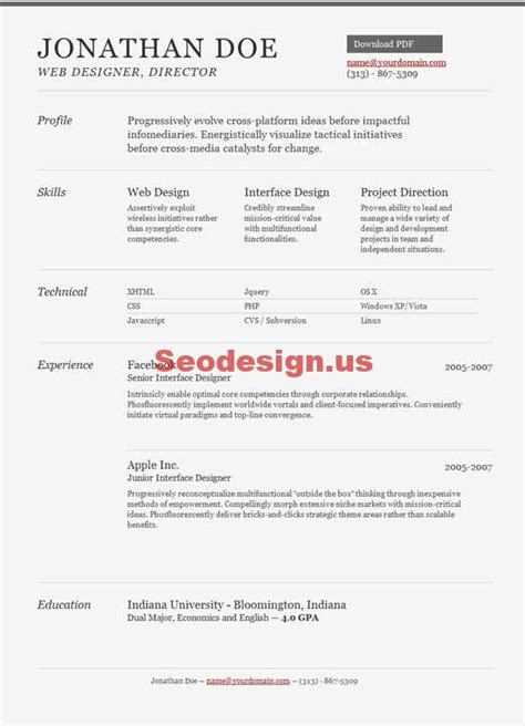 Resume Portfolio Template by 10 Html Portfolio Resume Cv Templates