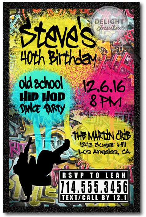 90s Hip Hop Graffiti Birthday Invitations Di 464 Custom Invitations And Announcements For 90s Invitations Template Free