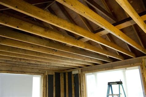 exposed ceiling joists to attic space stuff to try