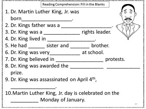 Martin Luther King Jr Math Worksheets martin luther king reading passage 3rd grade the big