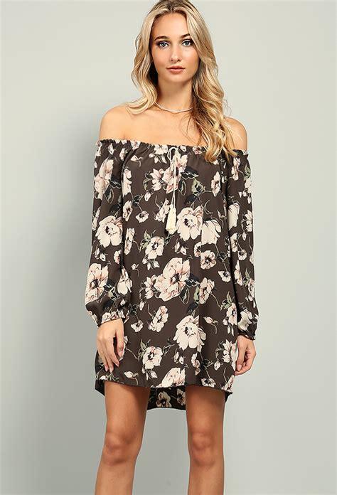 Id 1838 Flower Dress floral the shoulder chiffon dress shop day dresses at papaya clothing