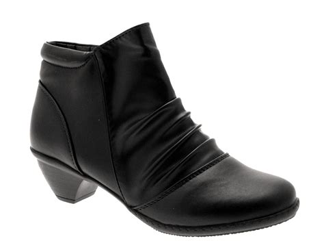 womens comfort flexi low heel ankle boots faux leather