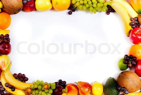 Border or frame of colorful fruits Assortment of exotic