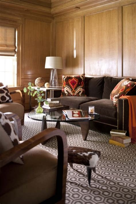 Chocolate And Orange Living Room by Orange And Brown Office Transitional Living Room By