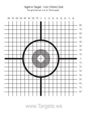 printable laser targets sight in target 1 1 cm grid targets pinterest