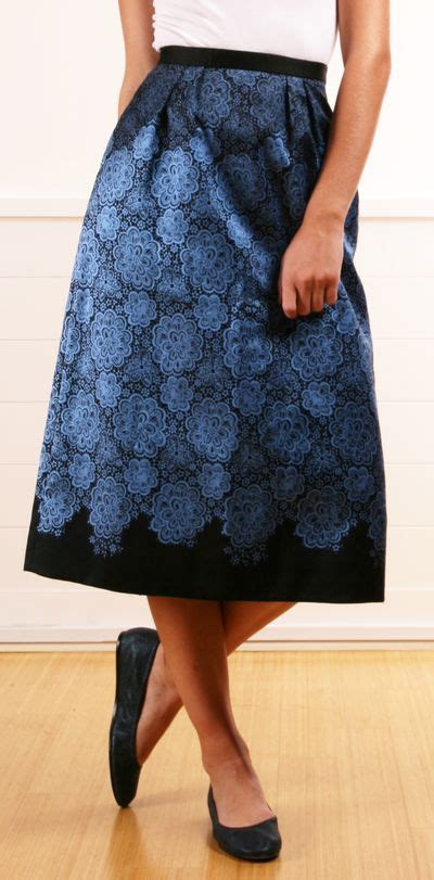 blue patterned midi skirt tibi black and blue patterned long silk structured skirt