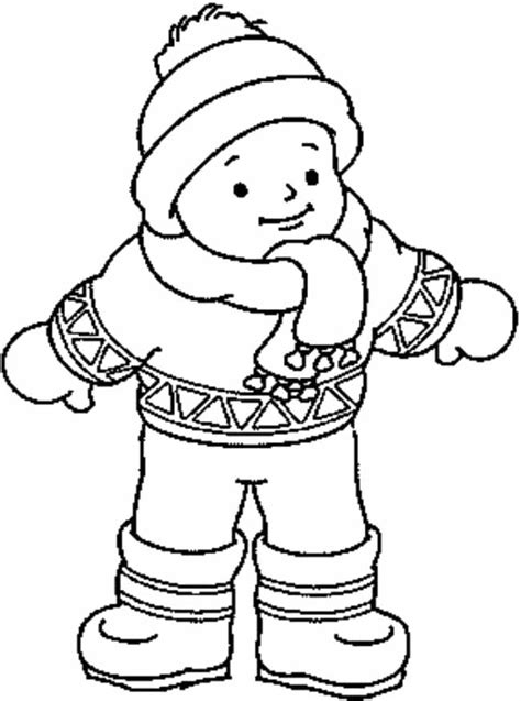 winter clothes that wear a child coloring coloring for