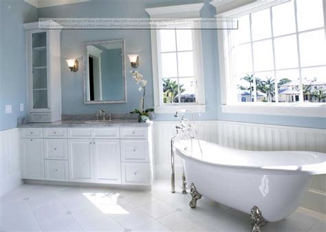 bathroom wall colors with white cabinets one of the best paint colors for bathrooms using blue wall