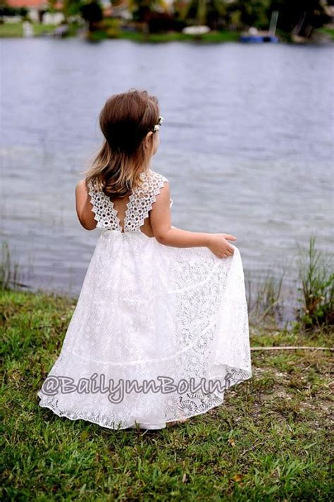 Maxi Lace Flowery ivory flower dress christening dress baptism dress