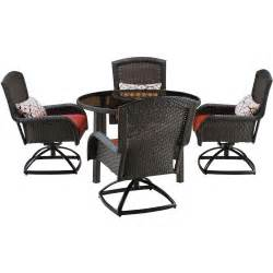 Dining Set With Swivel Chairs Hanover Strathmere 5 All Weather Wicker Patio Dining Set With Four Swivel Chairs And