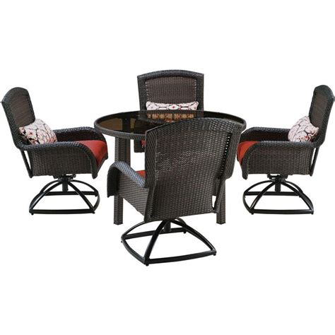 Hanover Strathmere 5 Piece All Weather Wicker Round Patio Patio Set With Swivel Chairs