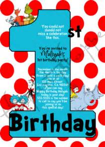 dr seuss 1st birthday party invitations invites