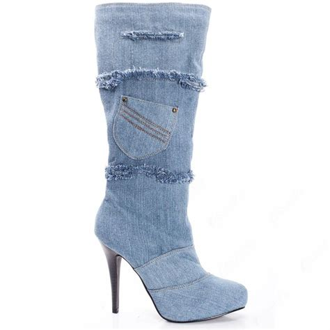 retro light blue denim knee high boots shoespie