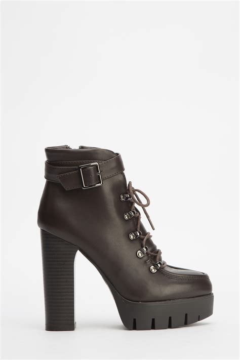 high block heel ankle boots brown or navy just 163 5