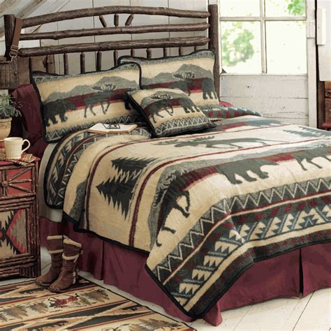Moose Bedding by Rustic Bedding King Size Cedar Run Fleece Bed Set Black Forest Decor